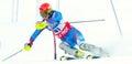 Unidentified participant of ski race pozza di fassa italy december performs at italian slalom championship on december pozza di Royalty Free Stock Photo