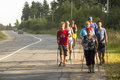 Unidentified participants during of local competitions in nordic walking devoted to the day of health nikolsky russia july Royalty Free Stock Photo