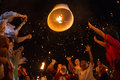 Unidentified people launch sky lanterns to the sky in loy kratong festival chiangmai november on november chiangmai thailand Royalty Free Stock Photo