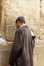 Unidentified poor man praying wailing wall western wall Stock Images