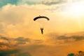 Unidentified skydiver, parachutist on sky Royalty Free Stock Photo