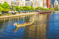 Unidentified team compete in the dragon boat races on the love river on june in kaohsiung taiwan Stock Photos