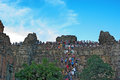 Unidentified tourists climbing a tower at angkor wat siem reap cambodia may to the top of to watch sunset it is part of the Royalty Free Stock Photo