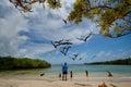 Unidentified tourists enjoying watching seabirds galapagos ecuador march in playa de los alemanes german beach galapagos islands Royalty Free Stock Images