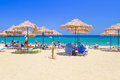 Unidentified tourists relaxing vai beach eastern part crete greece june vai beach located largest natural palm forest europe Royalty Free Stock Photography