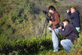 Unidentified tourists are taking a photo on mountain in the morn chiang mai thailand december morning Stock Photos
