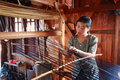 Unidentified woman was weaving silk fabric inle myanmar feb on feb inle myanmar inle is famous for the tourism to visit inle lake Royalty Free Stock Photography
