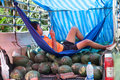 Unidentified young man selling watermelon fruits on the local market in Khao Lak Stock Image