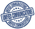 unified communications blue stamp Royalty Free Stock Photo