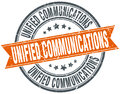 Unified communications round grunge stamp Royalty Free Stock Photo