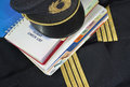 Uniform and manual captain aircraft check list for aircraft emergency procedure Royalty Free Stock Images
