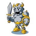 Uniforme do exército do capacete de with swords shield do cavaleiro dos desenhos animados Fotos de Stock Royalty Free