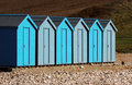 Uniformed Beach Huts Royalty Free Stock Photography