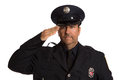 Uniformed Firefighter Salute Portrait on White Royalty Free Stock Images