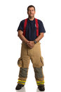 Uniformed Firefighter Standing Portrait Stock Image