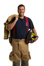 Uniformed Firefighter Standing Portrait Stock Images