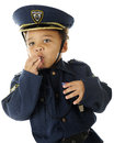Uniformed Whistle Blower Stock Photography