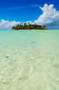 Uninhabited island in the pacific or desert blue lagoon inside rangiroa atoll an of tahiti archipelago french polynesia Royalty Free Stock Photography