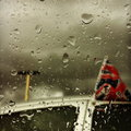 Union Flag with rain on Car Window Stock Photography