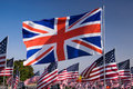 Union Flag among US flags  Royalty Free Stock Photos