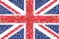 The Union Jack from the berries of a raspberry and currant Royalty Free Stock Photo