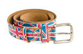 Union jack flag on brown leather belt isolated white background Royalty Free Stock Image