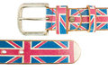 Union jack flag on brown leather belt isolated white background Royalty Free Stock Photos