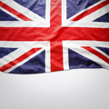 Union jack flag closeup of on plain background copy space Stock Photo
