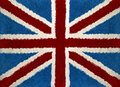 Union jack flag at wool carpet Stock Photo