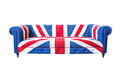 Union jack sofa isolate on white background with clipping path Royalty Free Stock Image