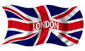 Union Jack witrh London Text Billowing in Wind Royalty Free Stock Image