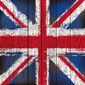 Union Jack on a Wooden Plank Background Stock Photography