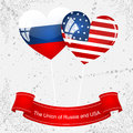 The union of russia and usa vector illustration with pictures flags countries Stock Images
