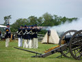Union Soldiers Firing Their Weapons Royalty Free Stock Photo