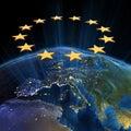 Unione Europea alla notte Fotografia Stock Libera da Diritti