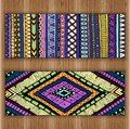 Unique abstract card set on wood background hand drawn ethnic pattern with doodles art flowers and cucumbers eps organized in Stock Photography