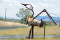 Unique Australian bird Emu sculpture mailbox made of scrap metal Royalty Free Stock Photo
