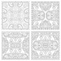 Unique coloring book square page set for adults floral authentic carpet design joy to older children and adult colorists who like Royalty Free Stock Images