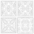 Unique coloring book square page set for adults floral authentic carpet design joy to older children and adult colorists who like Stock Image