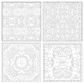 Unique coloring book square page set for adults floral authentic carpet design joy to older children and adult colorists who like Royalty Free Stock Photo