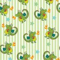 Cute child background with green Unique cute cartoon seamless pattern with dragon. Fantasy children`s illustration Royalty Free Stock Photo