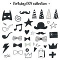 Unique hand drawn birthday boy collection. Set of holiday elements. Monochrome decorations in scandinavian style.