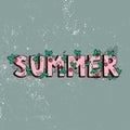Unique lettering poster with word Summer. Vector art. Trendy handwritten summer illustration.