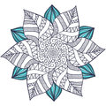 Unique mandala vector in floral style. Circle zentangle for coloring book pages. Round ornament pattern for henna tattoo