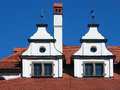 Unique medieval roofs in levoca summer view of on top of town hall city located north eastern slovakia town hall which Royalty Free Stock Photography