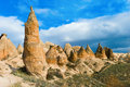 Unique rock formations in cappadocia turkey Stock Photography