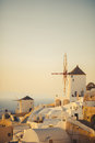 Unique santorini architecture greece streets of cycladic Royalty Free Stock Photos