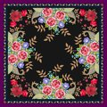 Unique shawl or carpet with bouquets of fantasy flowers, golden leaves and paisley on black background. Vector image