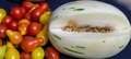 A unique snow leopard melon fresh grown teardrop tomatoes new type of is the similar to honeydew but with green stripes paired Royalty Free Stock Image