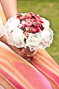 Unique stule wedding bouquet details like gold rings and tiara crown makes a more special and bring great memories back after Royalty Free Stock Images